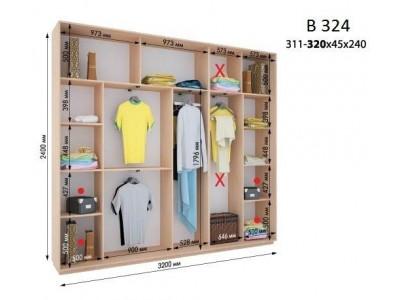 Четырехдверный шкаф купе ВН-324