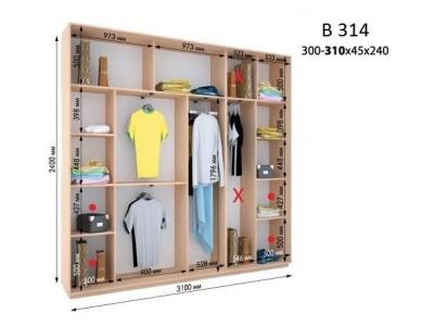 Четырехдверный шкаф купе ВН-314