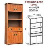Шкаф книжный 4д+1ш «Валенсия» (Мебель-Сервис)